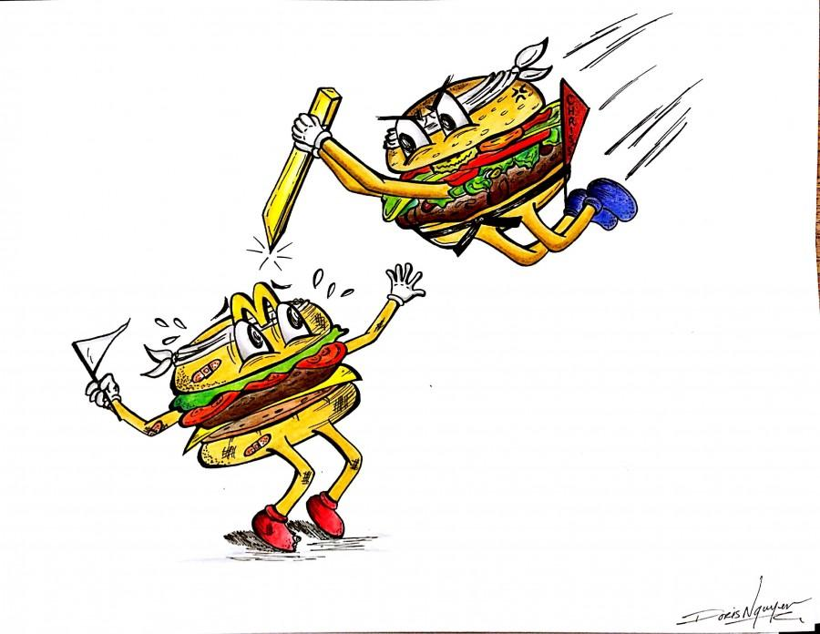 Chris's Burgers can take McDonald's out. Illustrated by Doris Nguyen